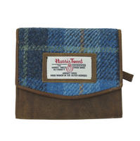 Small Harris Tweed Pale Blue Castle Bay Tartan Purse Thumbnail 1