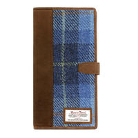 Travel Documents Holder with Harris Tweed Pale Blue Castle Bay Tartan
