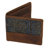 Harris Tweed Beige & Blue Carloway Tartan Wallet Thumbnail 1