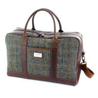 Harris Tweed Beige & Blue Carloway Tartan Leather Overnight Bag Thumbnail 1