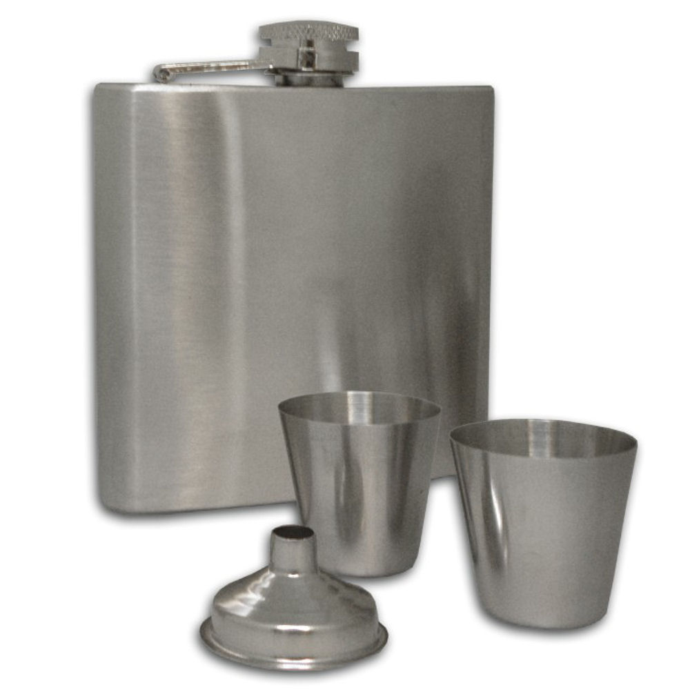 Stainless Steel Hip Flask with Funnel & 2 Shot Glasses