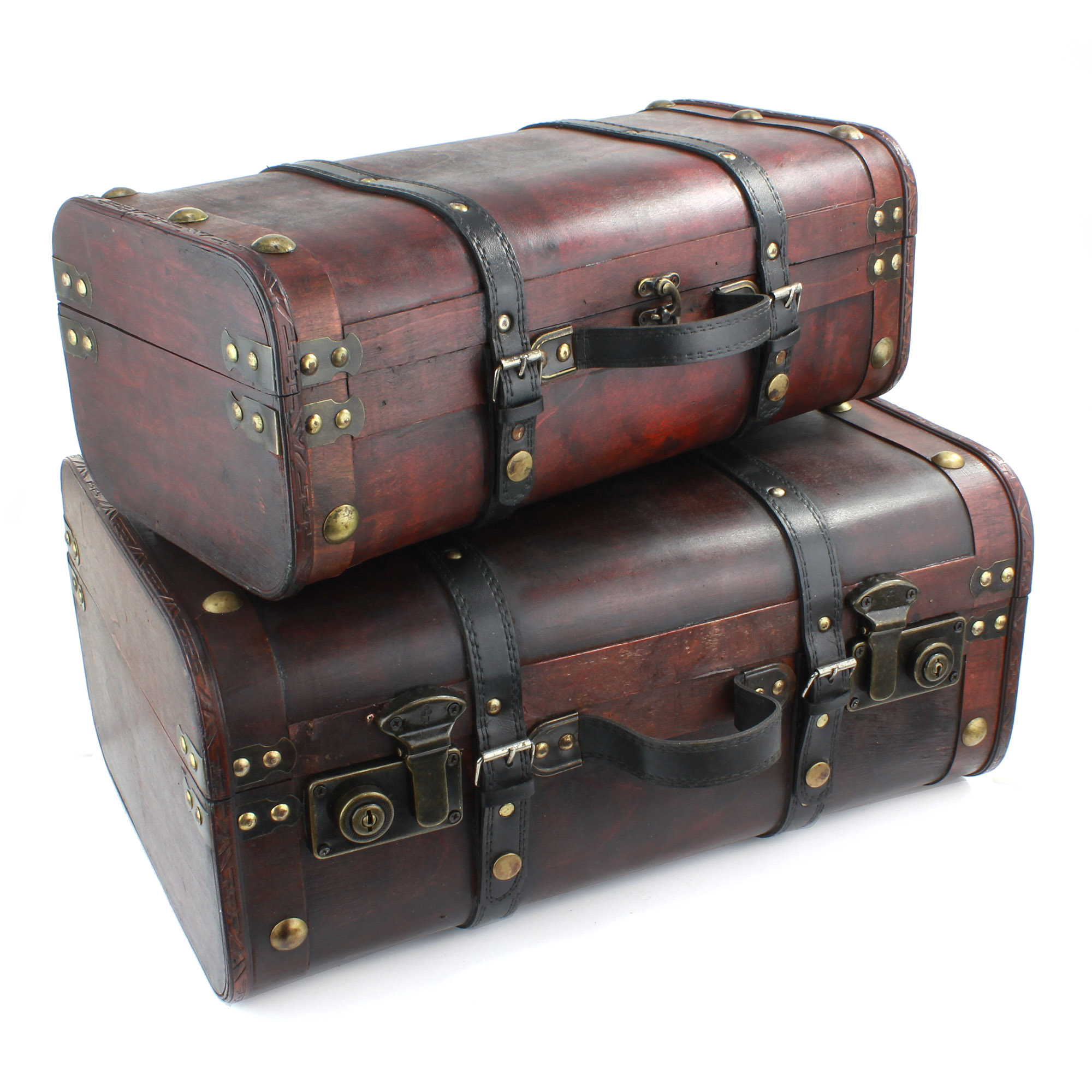 Set of 2 Wooden Suitcases
