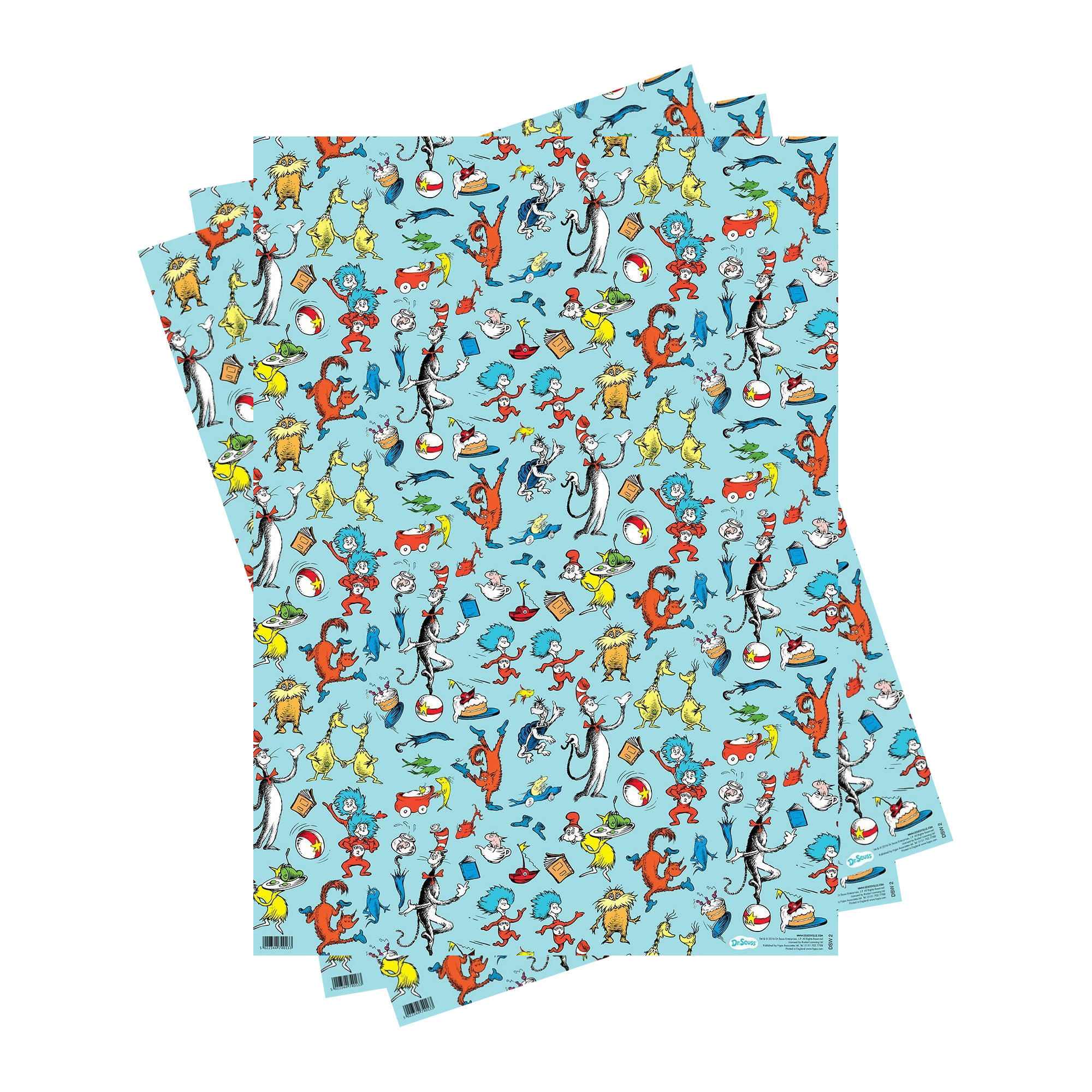 3 SHEETS DR SEUSS CHARACTERS GIFT WRAP WRAPPING PAPER CAT IN THE HAT LORAX SAM