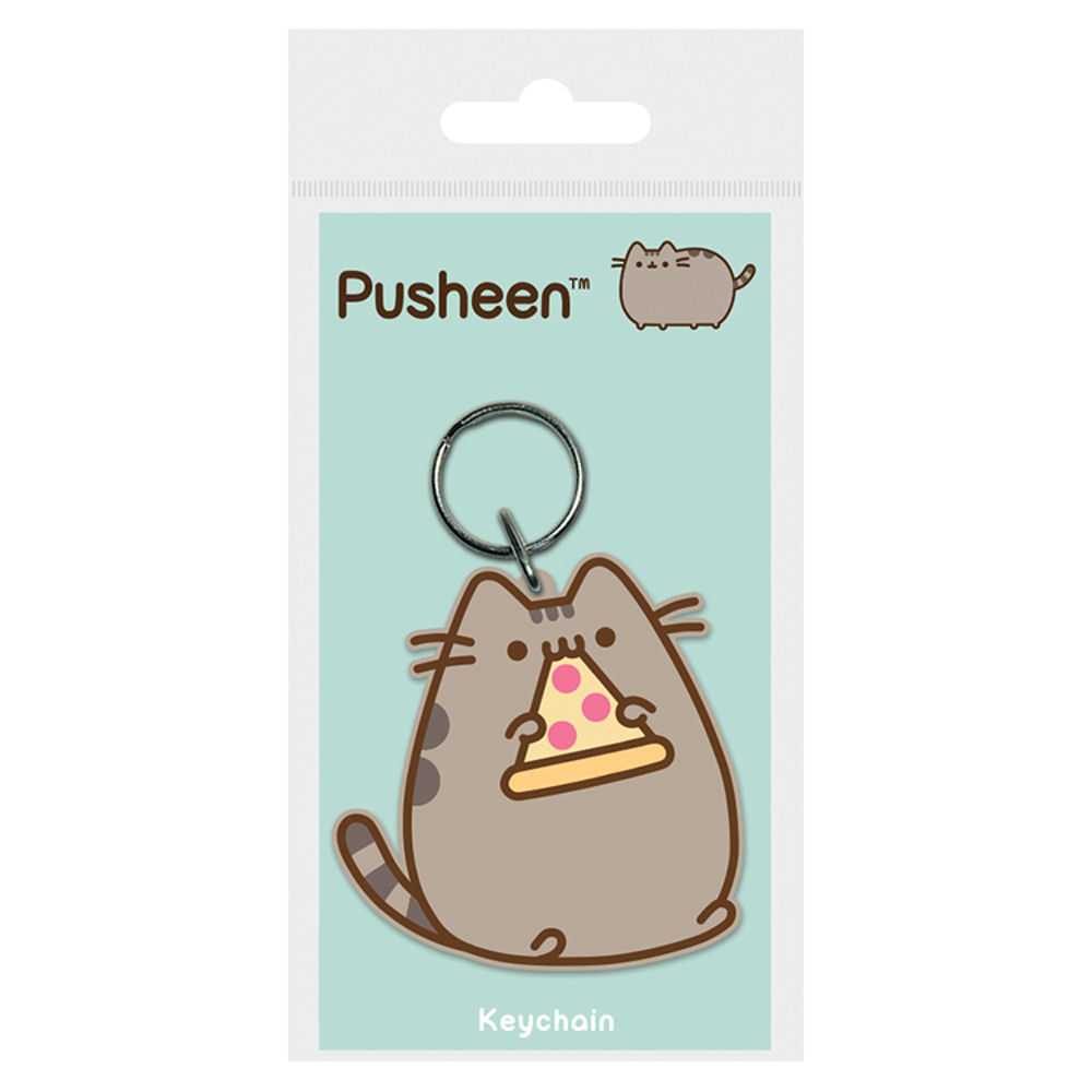 Pusheen Eating Pizza PVC Keyring