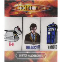 Doctor Who K-9, The Doctor, & Tardis Pack Of 3 Hankies