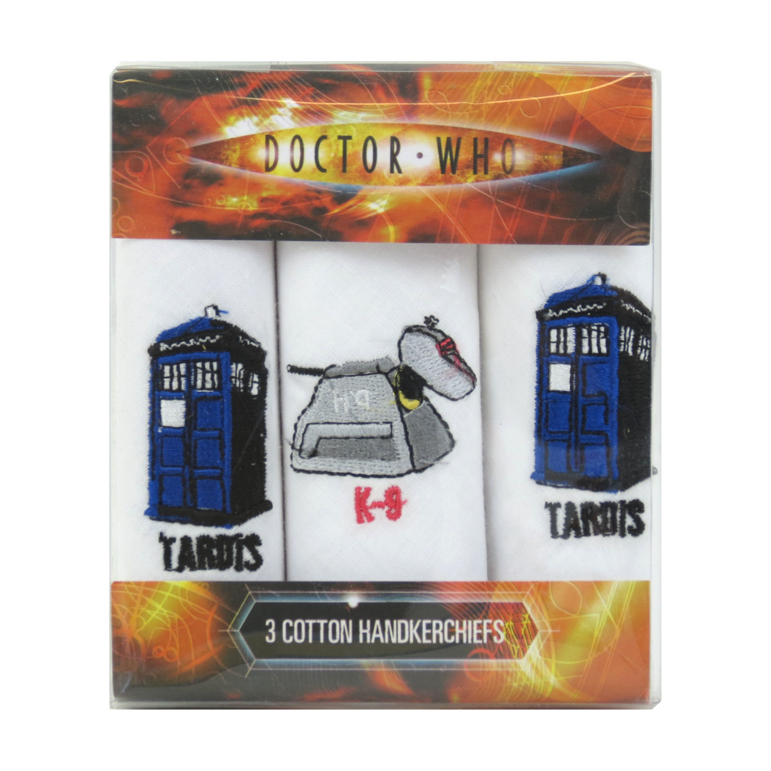 Doctor Who Tardis, K-9, Tardis Pack of 3 Hankies