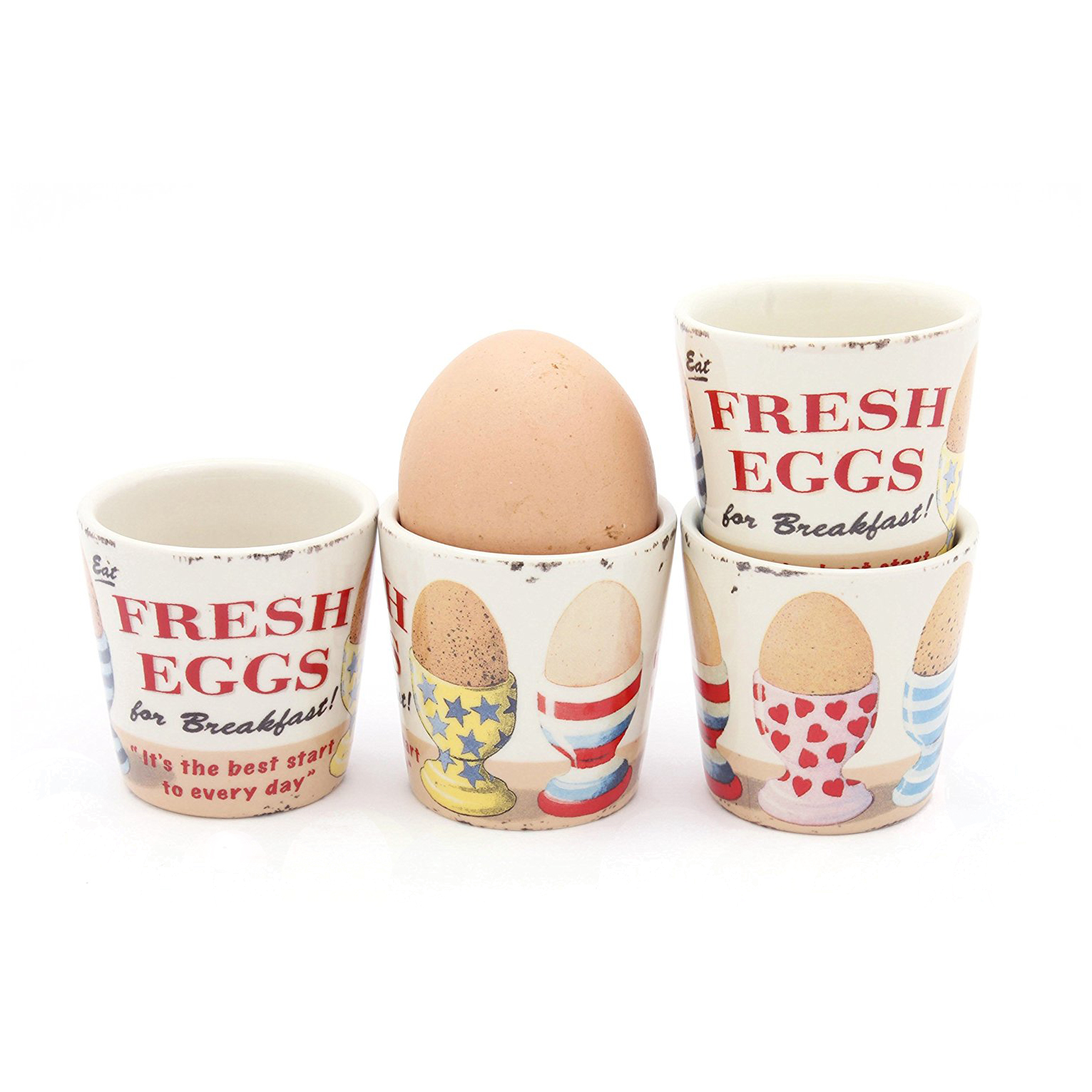 Set Of 4 Stars, Stripes & Hearts Fresh Eggs Ceramic Egg Cups