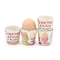 Set Of 4 Stars, Stripes & Hearts Fresh Eggs Ceramic Egg Cups Thumbnail 1