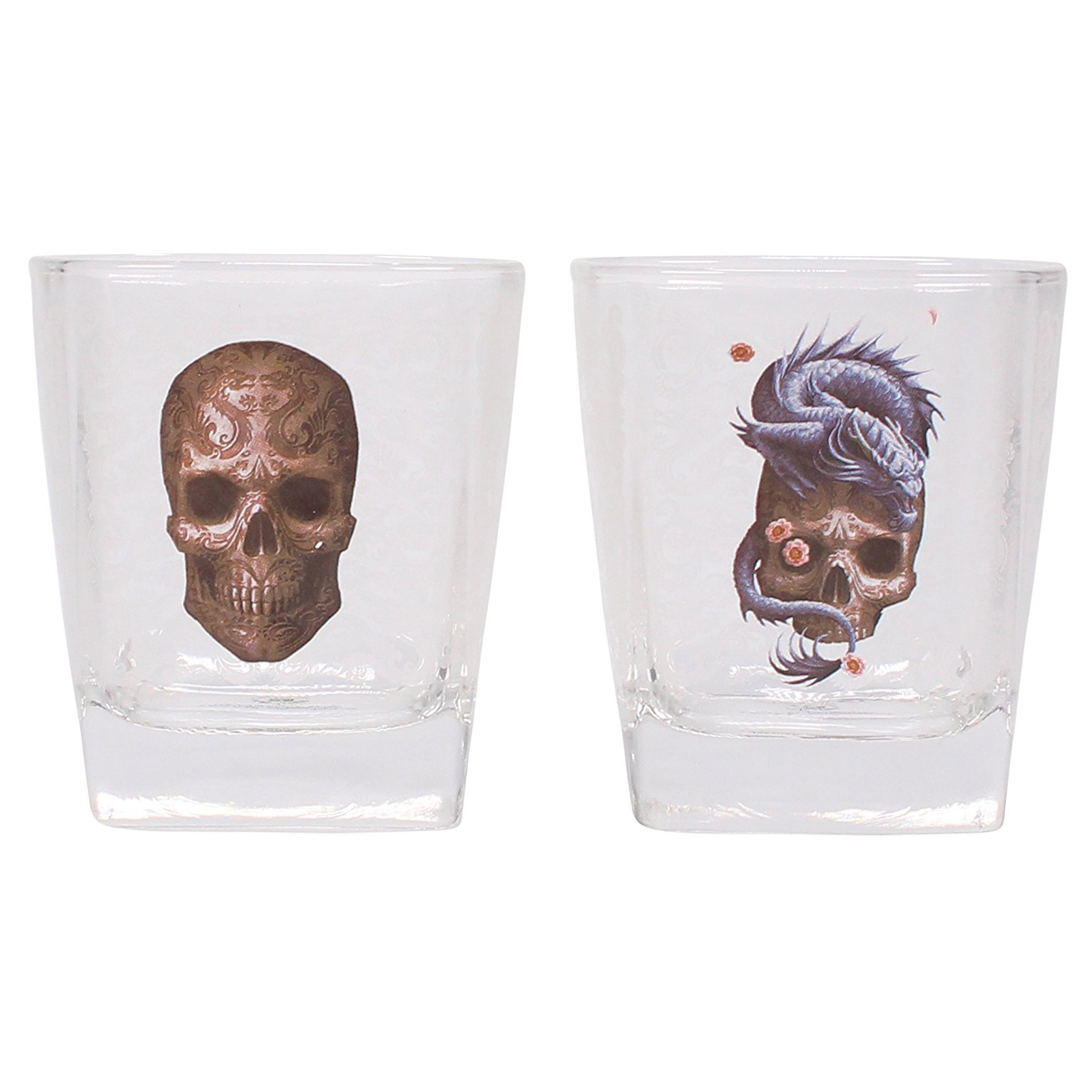 Anne Stokes Oriental Skull & Dragon Set Of 2 Tumblers