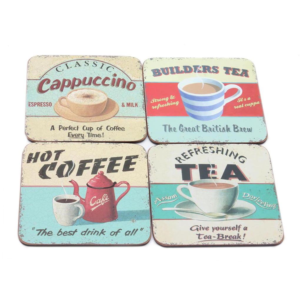 Hot Drinks Set of 4 Coasters