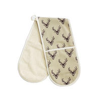 Woodland Trust Stag Repeat Pattern Double Oven Glove