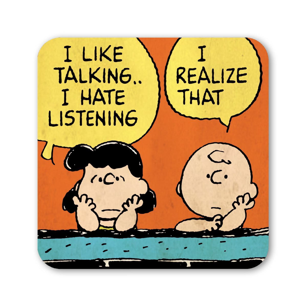 Charlie Brown Amp Lucy Talking Coaster Retro Drinks Mat