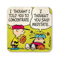 "Peanuts Charlie Brown & Lucy ""Concentrate"" Single Coaster"
