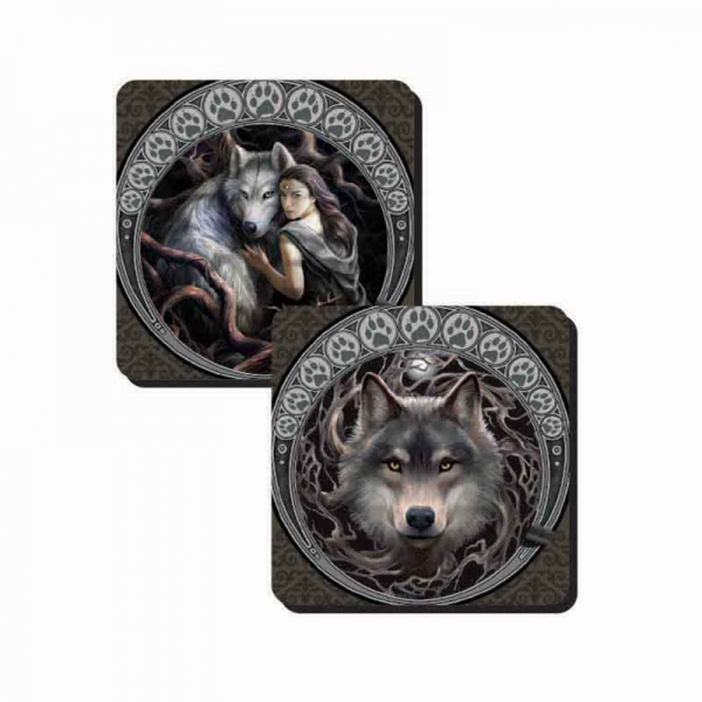Anne Stokes Set of 2 Soul Bond & Protector Wolves Coasters