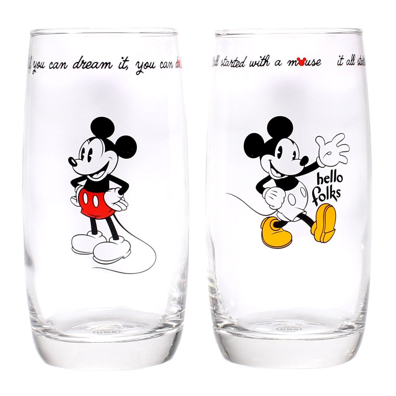 Set of 2 Mickey Mouse Glasses