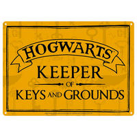 Harry Potter Hogwarts Keeper of Keys & Grounds A5 Steel Sign Thumbnail 1