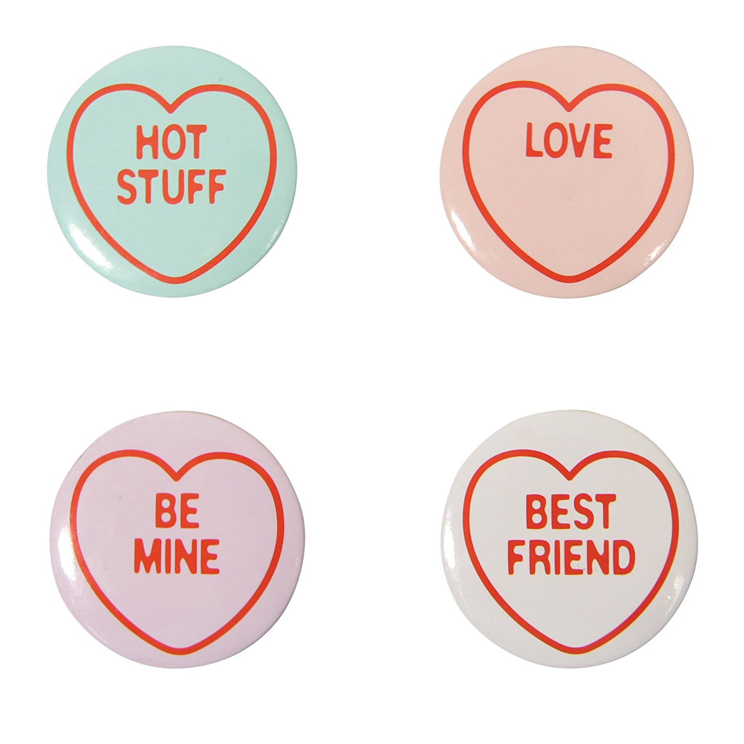 Set of 4 Love Hearts Badges