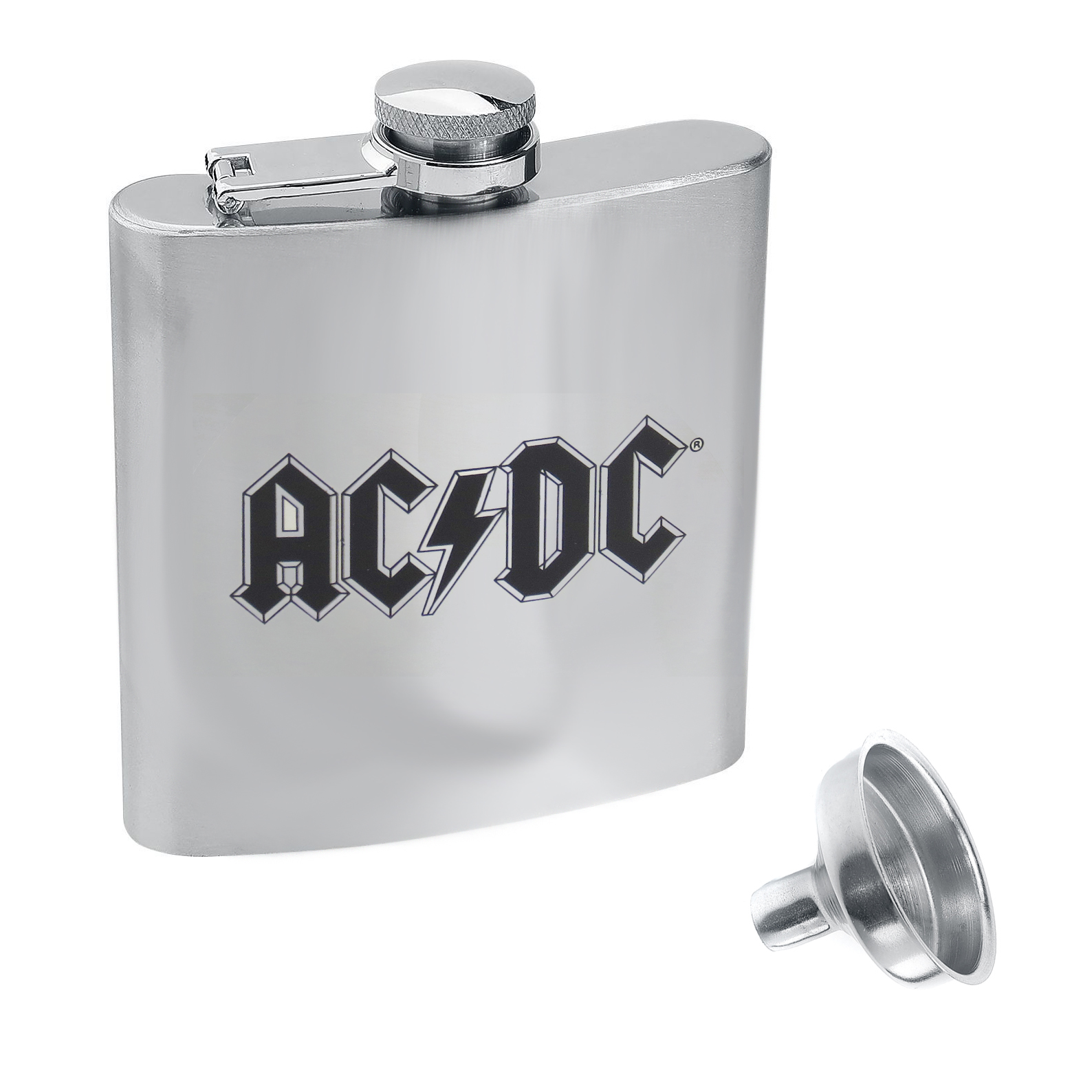 AC/DC Logo Hip Flask With Funnel