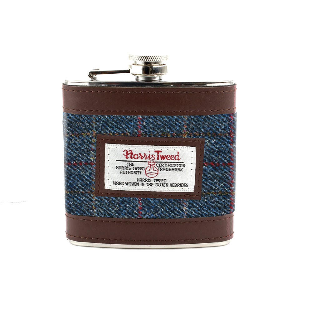 Harris Tweed Dark Blue Allasdale Tartan Hip Flask