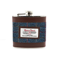 Harris Tweed Dark Blue Allasdale Tartan Hip Flask Thumbnail 1