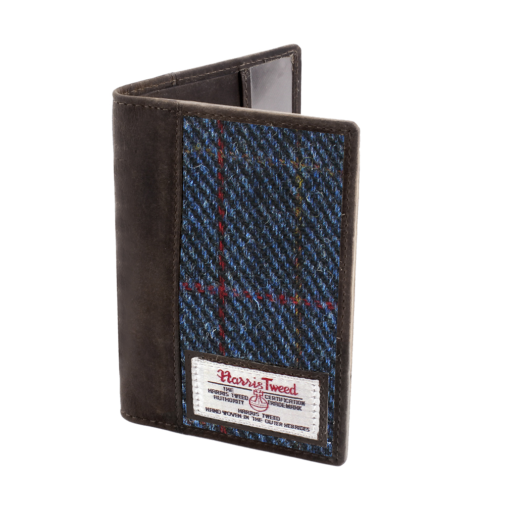 Passport Holder with Harris Tweed Dark Blue Allasdale Tartan