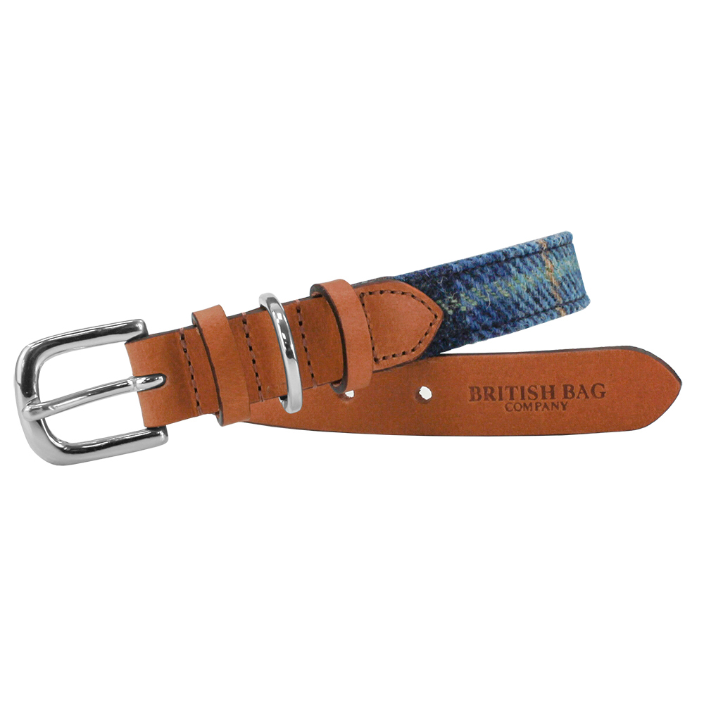Pale Blue Castle Bay Harris Tweed Leather Dog Collar