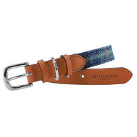 Pale Blue Castle Bay Harris Tweed Leather Dog Collar Thumbnail 1
