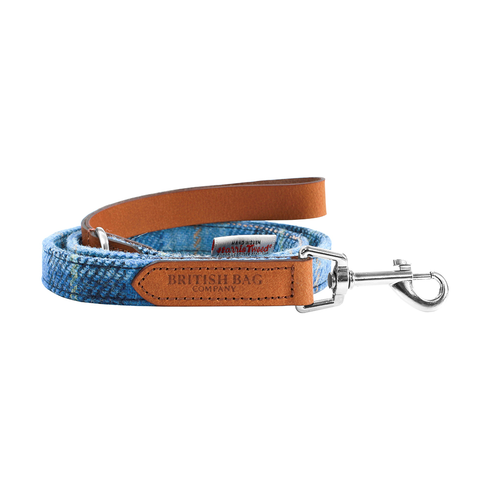 Pale Blue Castle Bay Harris Tweed Leather Dog Lead