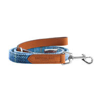 Pale Blue Castle Bay Harris Tweed Leather Dog Lead Thumbnail 1
