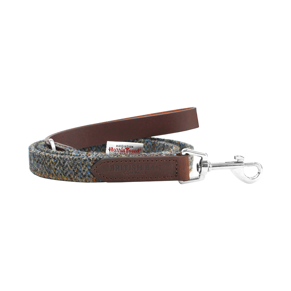 Beige & Blue Carloway Harris Tweed Leather Dog Lead