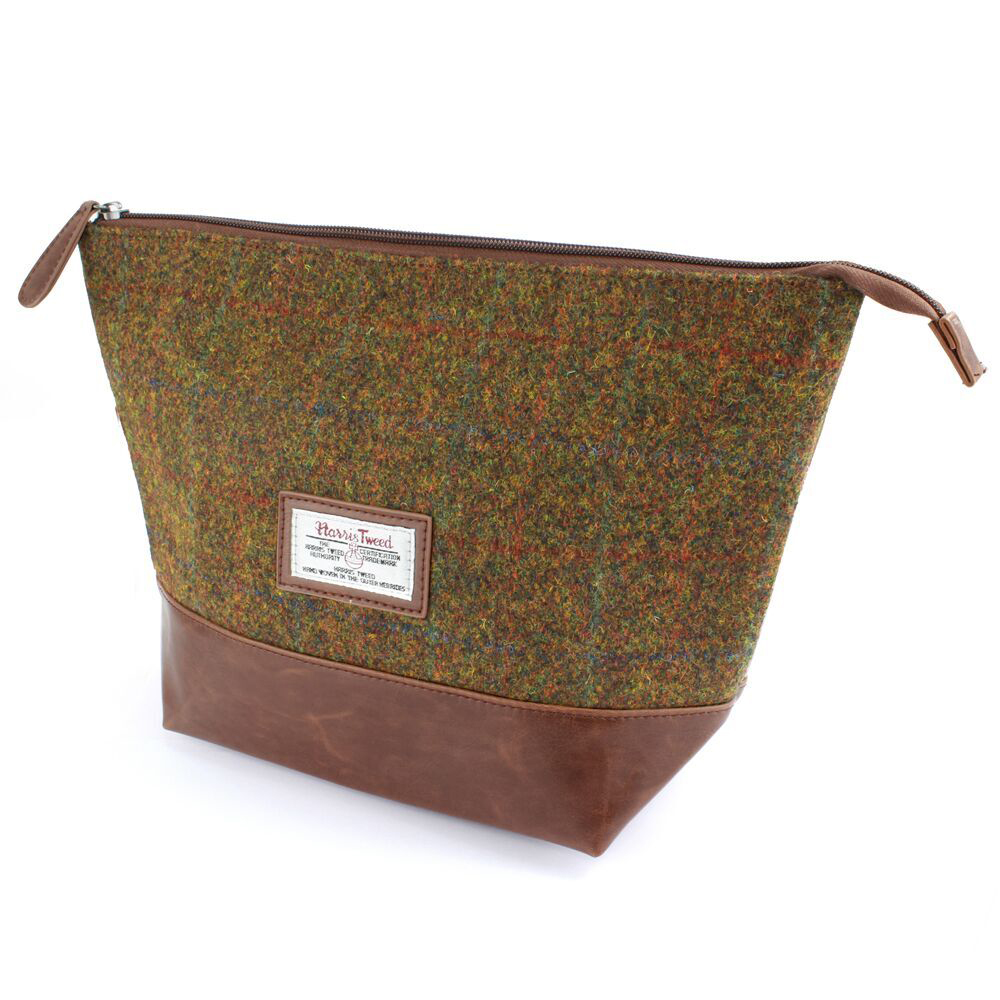 Harris Tweed Olive & Tan Tartan Wash Bag