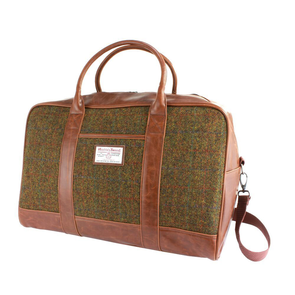 Harris Tweed Olive & Tan Tartan Overnight Bag