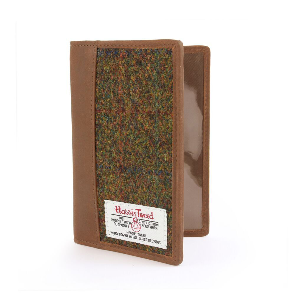 Passport Holder with Harris Tweed Olive & Tan Tartan