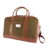 Harris Tweed Olive & Tan Tartan Overnight Bag Thumbnail 1