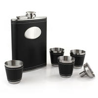 Black Faux Leather Hip Flask With Funnel & 4 Shooters