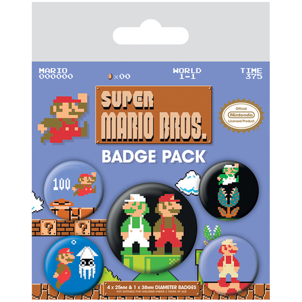 SUPER MARIO BROS RETRO 5 BADGE SET FILM BUTTON PIN LUIGI NINTENDO ARCADE  GAME