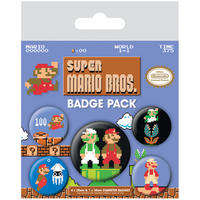 Retro Super Mario Bros Badge Set