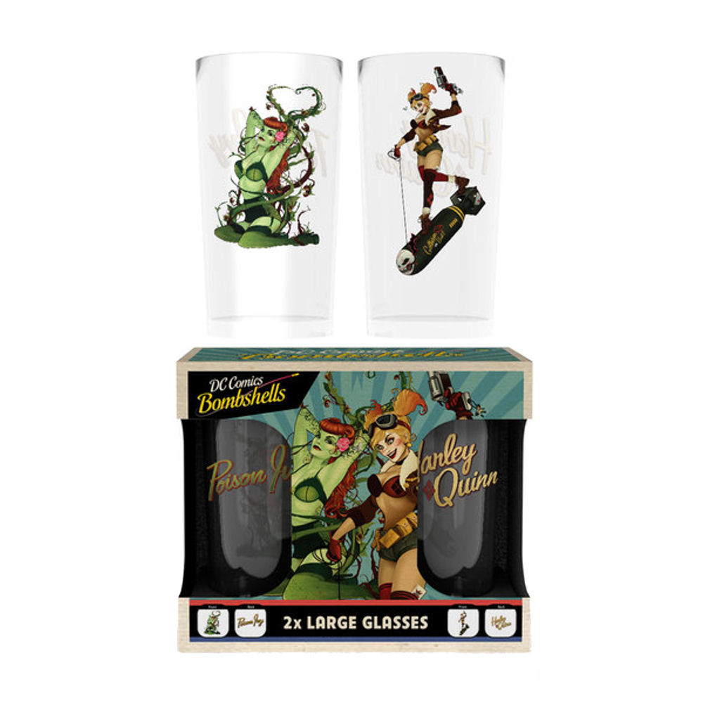 DC Bombshells Harley Quinn & Poison Ivy Set Of 2 Glasses