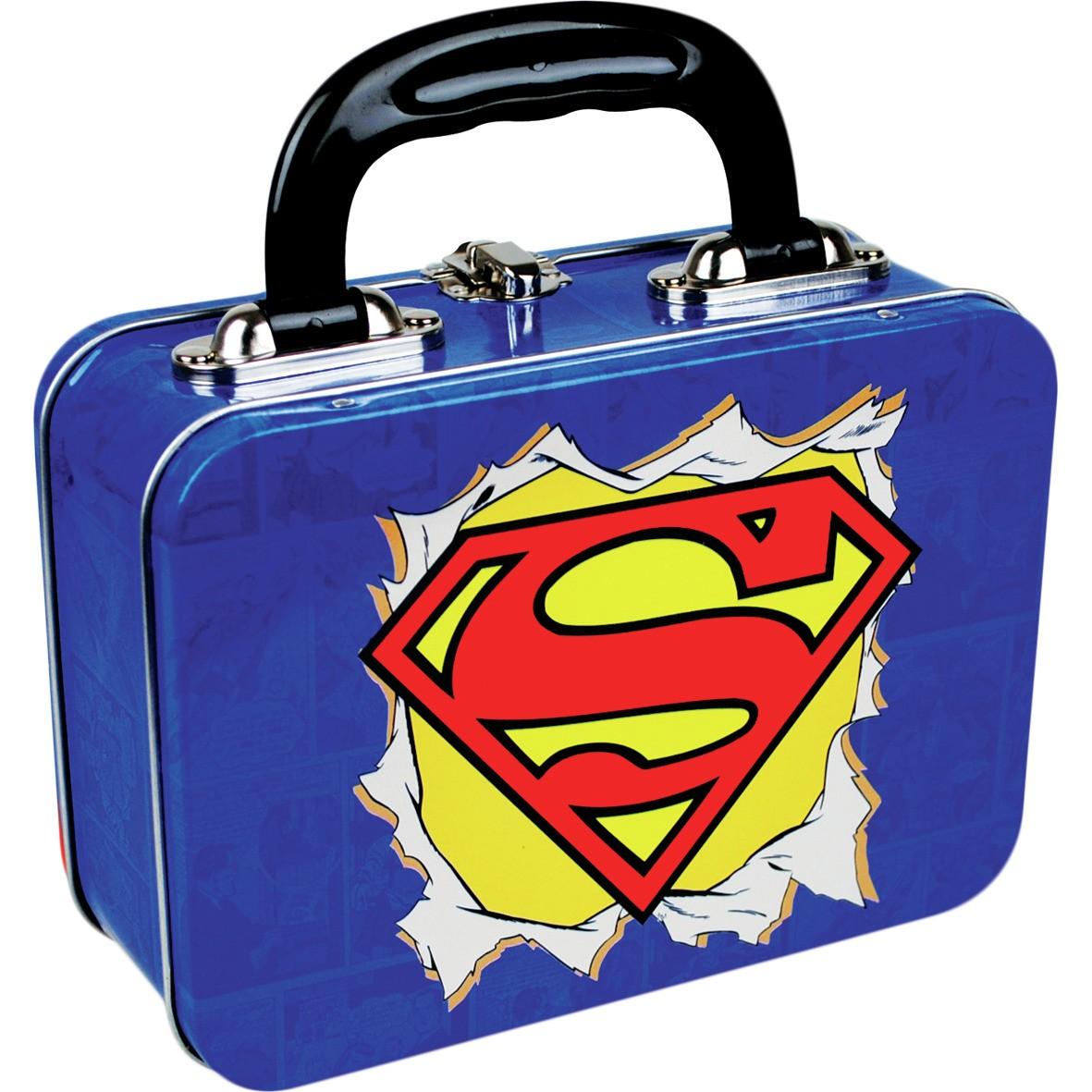 new superman logo tin tote lunch box dc comics retro kids. Black Bedroom Furniture Sets. Home Design Ideas