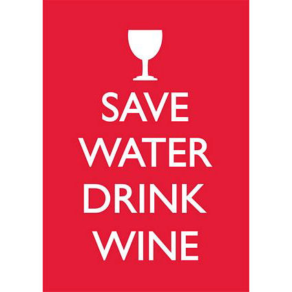 Save Water Drink Wine Greeting Card Retro Birthday Keep Calm Blank