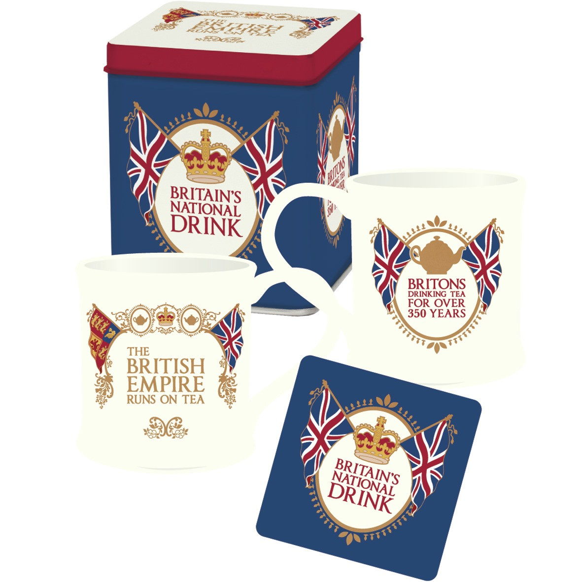 Britain's National Drink Mug & Coaster Set In A Tin