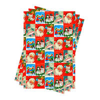 Vintage Christmas Gift Wrap x 3 Sheets