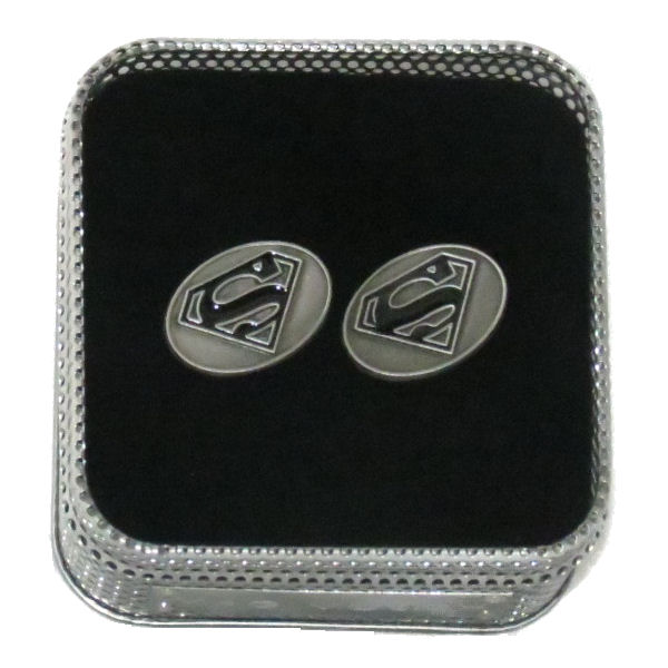 Oval Superman Logo Cufflinks (Black Enamel)