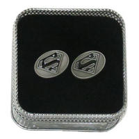 Oval Superman Logo Cufflinks (Black Enamel) Thumbnail 1