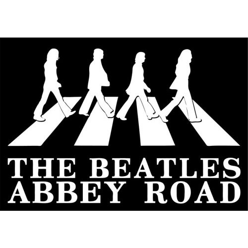 NEW BEATLES ABBEY ROAD SILHOUETTE POSTCARD RETRO MUSIC OFFICIAL