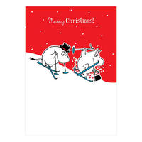 Red Moominpappa & Moomintroll Skiing Christmas Card