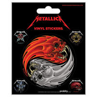 Metallica Yin & Yang Skulls Sheet of Vinyl Stickers