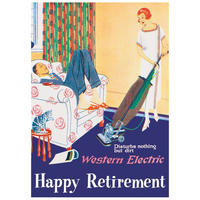 "Happy Retirement ""Western Electric Disturbs Nothing But Dirt"" Postcard"