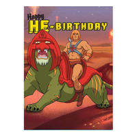 He-Man & Battle-Cat Happy HE-Birthday Greeting Card