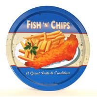 Fish And Chips Round Tin Tray Thumbnail 1